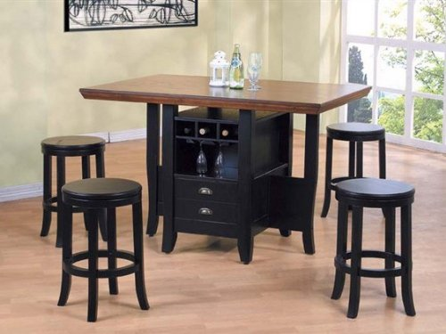 Image of 5pc Counter Height Kitchen Island Table & Stools Set Multi Tone Finish (VF_Dinset-AM6305-AM6307)