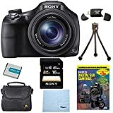Sony DSC-HX400V/B DSCHX400VB DSCHX400V HX400 20 MP Digital Camera Bundle with 16GB High Speed Card, Spare Battery, Padded Case, DVD Photography Tutorial, SD Card Reader, Table top Tripod, LCD Screen Protectors, and Lens Cleaning Cloth