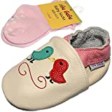 Birds Soft Sole Baby Girl Shoes with matching Anti-slip socks (6-12 Months, Beige)
