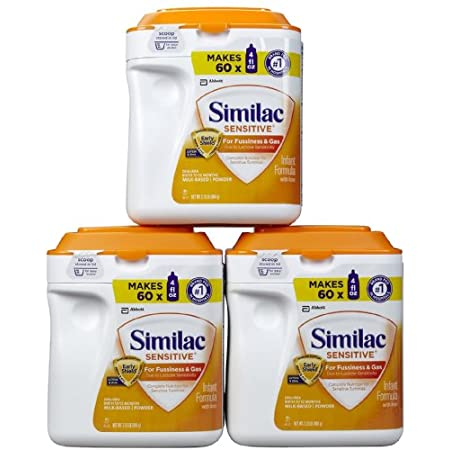 Similac Sensitive is specially designed for fussiness and gas due to lactose sensitivity.* Complete nutrition for sensitive tummies, featuring OptiGRO, an exclusive blend of brain & eye nourishing nutrients for baby's development. (*Not for infants o...