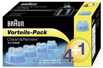 Braun CleanundCharge Reinigungskartuschen (Promo-Pack 4 + 1 gratis für die Reinigungsstation und...