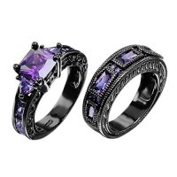 European Style Amethyst Two Pieces Promise Rings for ...