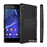 Sony Xperia Z3 Case, M-Zebra Sony Xperia Z3 Case Cover - Shock Absorption / High Impact Resistant Full Body Hybrid Armor Protection Defender Case Cover for Sony Xperia Z3,with Screen Protectors+Stylus(Black)+Cleaning Cloth (Kickstand Black)