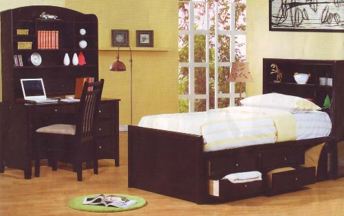 Image of Cappuccino Finish Twin Chest Bed Kids Bedroom Set Desk (B001DDGFSE)