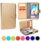 ZTE Blade G/Pro/Lux, G2, III Pro, Q/Mini, Vec 3G phone case, COOPER SLIDER Mobile Cell Phone Wallet Protective Case Cover Casing with Open Camera & Credit Card Holder (Gold)