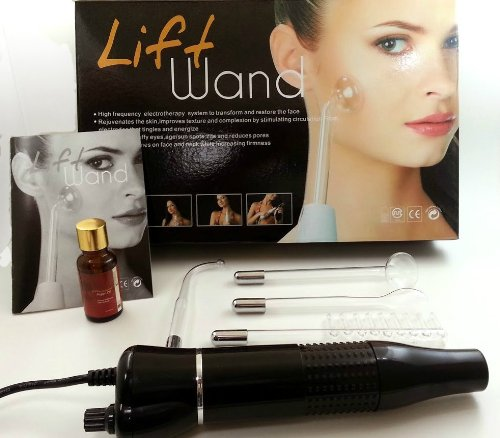 Lift Wand High Frequency Facial Device Eliminates Wrinkles, Scars, Acne, Dark Circles w/ Moroccan Argan Oil Breakthrough Device for Beauty, Health, Personal Care