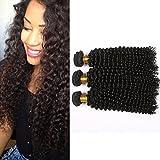 "Mornice Hair 3 Bundles 100% Unprocessed 8A Peruvian Remy Kinky Curly Virgin Hair Weave Human Hair Extensions Natural Black 300 Gram (8""8""8"")"