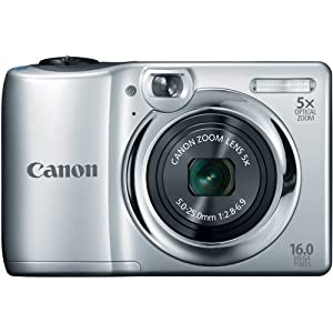 Canon PowerShot A1300 16.0 MP Digital Camera with 5x Digital Image Stabilized Zoom 28mm Wide-Angle Lens with 720p HD Video Recording (Silver)