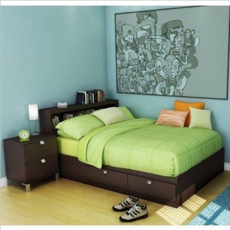 Image of South Shore Cakao Kids Full Wood Storage Bed 3 Piece Bedroom Set in Chocolate (3259211-3PKG)