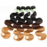 Fani Grade 6A Virgin Brazilian Hair Ombre Extensions Body Wave Weft 3 Tone Color Real Unprocessed Human Hair Weave 22 24 26 28 inches 100G/Bundles