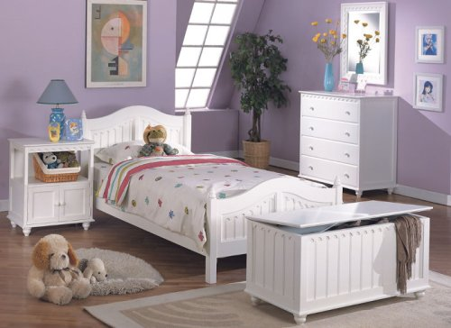 Image of 5 pc white finish wood twin size kids bedroom set twin or full (F9030)