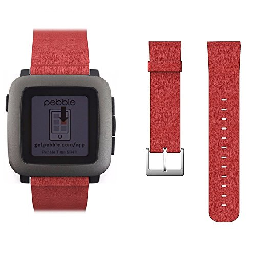 Pebble-Time-Watch-Band-Monoy-Genuine-Real-Leather-Strap-Wrist-Band-Replacement-With-Metal-Clasp-Connector-for-Pebble-Time-Red-Leather-Band