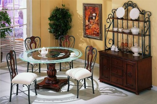 Image of 5 pc metal and glass dining table set with frosted glass top and wood base (VF_DINSET-F2197-F1096)