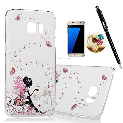 S7-Edge-CaseSamsung-Galaxy-S7-Edge-Case-BADALink-Ultra-thin-Slim-Fit-Colorful-Print-Pattern-Protective-Hard-PC-Cover-with-High-Definition-Screen-Protector-Dust-Plug-Stylus-Pen-Butterfly-Fairy