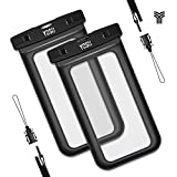 Waterproof Case, YOSH Universal Cell Phone Dry Bag Pouch for Apple iPhone 6S 6 6S Plus SE 5S Note 5 S7 S6 Edge Pixel XL LG Huawei for Smartphone up to 6 inches, Black 2 Pack
