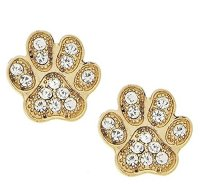 Cute Crystal Puppy Dog Cat Kitten Animal Paw Print Gold ...