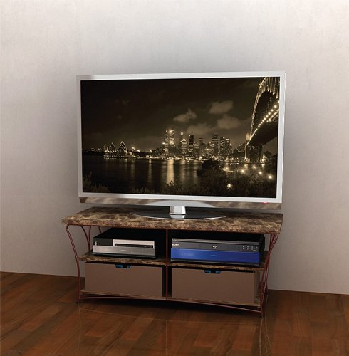 Image of Flat Panel LCD TV Stand with Brown Marble Shelves and Brown Frame (AZ00-49041x21157)
