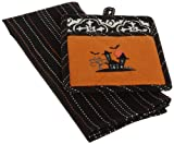 DII Haunted House Embroidered 1 Pot Holder & 1 Dishtowel