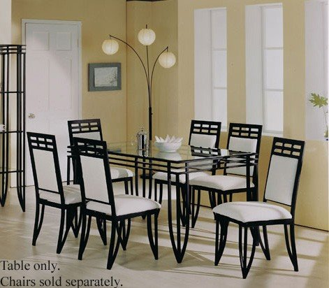 Image of Rectangular Dining Table with Glass Top Black Wrought Iron (VF_AM8215)