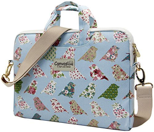 Canvaslove-Blue-Bird-Patten-Canvas-Laptop-Shoulder-Bag-11-Inch-12-Inch-13-Inch-Laptop-Messenger-Bag-133-Inch-Macbook-11-Macbook-12-Macbook-13-Case-Sleeve-Bag