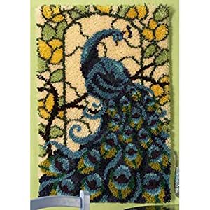 Amazoncom Craftways Stained Glass Peacock Rug Latch Hook Kit