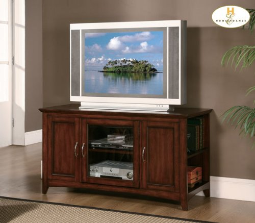 Image of Warm Cherry Wood Media Center Storage TV Stand Console By Homelegance Furniture (8047-T)