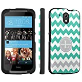 Htc Desire 526 Case, [SkinGuardz] Black Form Fit Fancy Protection Case - [Mint Chevron L Monogram] Print Design
