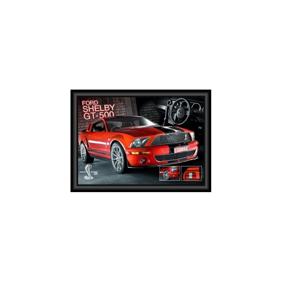 Poster Gerahmt Autos Roter Mustang Ford Shelby Gt 500 3d Poster Gerahmt 3d