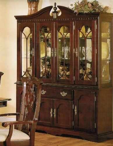 Image of China Cabinet Buffet Hutch - Traditional Cherry Finish (VF_F6071)