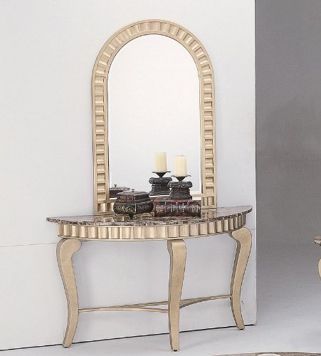 Image of 2pcs Granite Top Gold Finish Entryway Console Table with Mirror (VF_7476-7479)