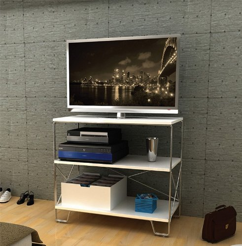 Image of Flat Panel LCD TV Stand with 3 Tier White Shelves (AZ00-49038x21336)