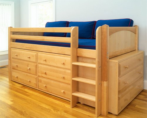 Image of Maxtrix Kids Box / One One Twin Box Low Loft Bed with Six and Three Drawer Dressers (Box / One One)