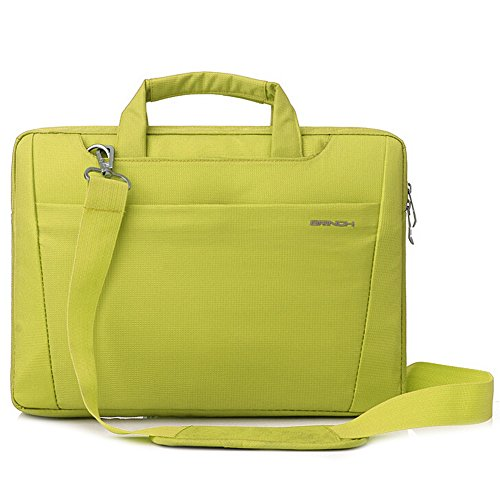 BRINCH-Nylon-Lightweight-Durable-Laptop-Shoulder-Case-Carrying-Messenger-Bag-Briefcase-For-13-14-Inch-Laptop-Notebook-MacBook-Chromebook-Computers-with-Shoulder-Strap-and-Pockets-Green