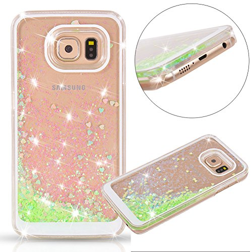 Galaxy-S7-Case-Wuloo-Samsung-Galaxy-S7-Hard-Case-Fashion-Creative-Design-Flowing-Liquid-Floating-Luxury-Bling-Glitter-Sparkle-Love-Heart-Hard-Case-for-Grils-Children-Yellow