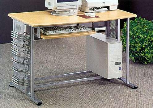 Picture of Comfortable Brushed Aluminum Finish Computer Desk (B0001JT2JU) (Computer Desks)