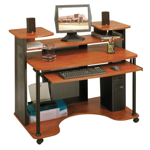 Picture of Comfortable Modern Computer Desk - Black and Cherry Finish (B004XE0JBO) (Computer Desks)