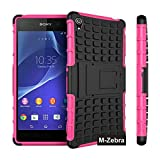 Sony Xperia Z3 Case, M-Zebra Sony Xperia Z3 Case Cover - Shock Absorption / High Impact Resistant Full Body Hybrid Armor Protection Defender Case Cover for Sony Xperia Z3,with Screen Protectors+Stylus(Black)+Cleaning Cloth (Kickstand Hot Pink)