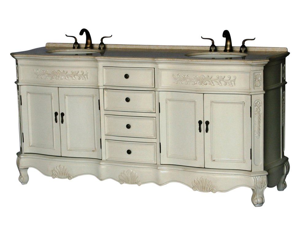 72 Inch Antique Style Double Sink Bathroom Vanity Model