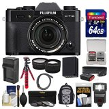 Fujifilm-X-T10-Digital-Camera-18-55mm-XF-Lens-with-64GB-Card-Backpack-Flash-Battery-Charger-Tripod-TeleWide-Lens-Kit