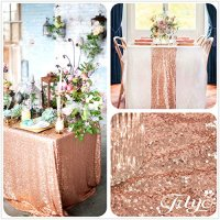 TRLYC 12'' x 108'' Royal Sequin Table Runner, Rose Gold ...
