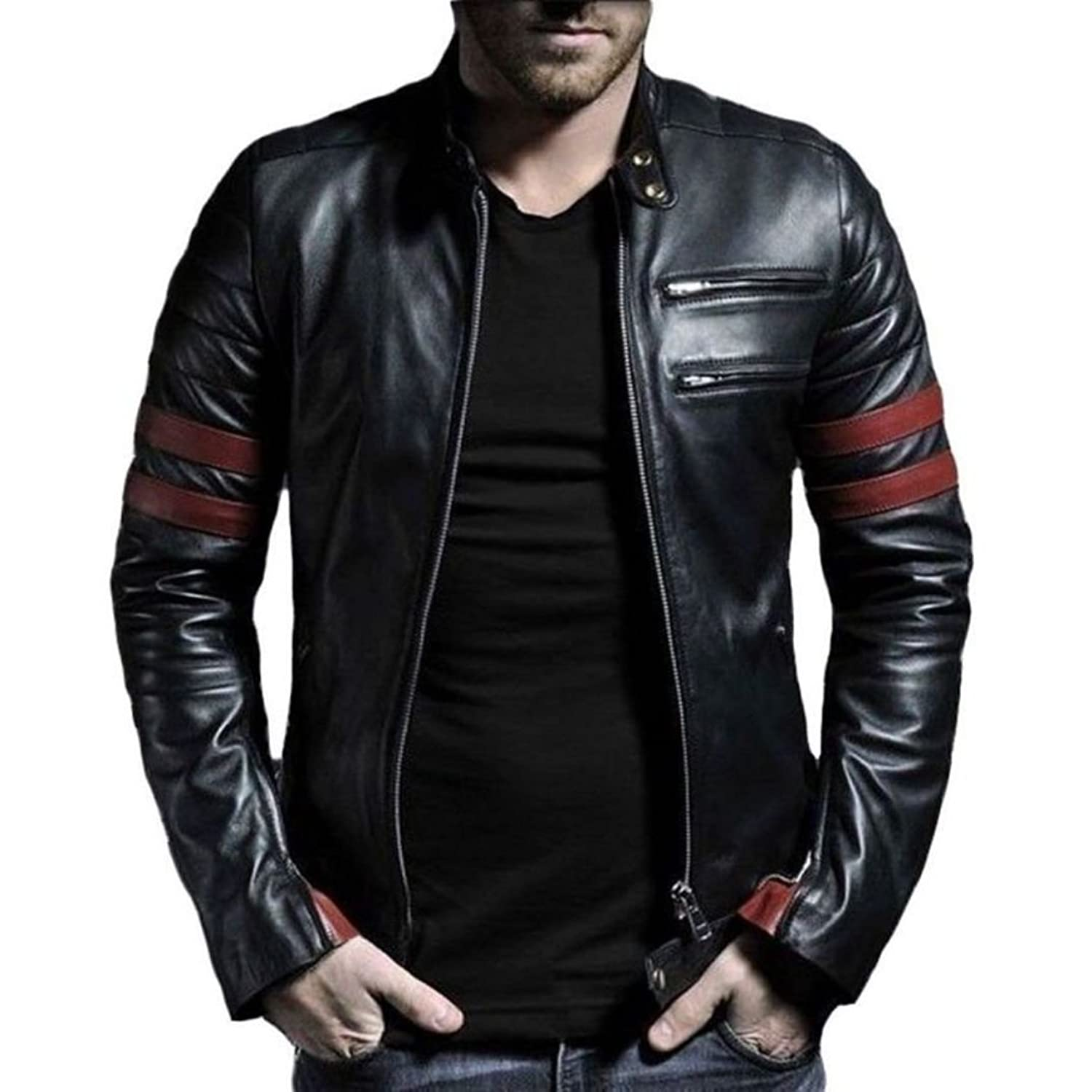 V4m men s red stripe genuine real leather jacket amazon in clothing accessories