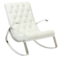 Cupola Tufted White Leather Rocking Chair ...