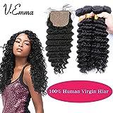 V-Emma Cheap Pervian Virgin Hair Deep Wave With side part Closure,Natural Black Deep Curly Virgin Hair Weave With Silk Closure 16x18x20x20+16