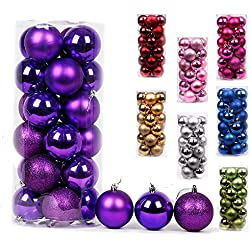 AMS Christmas Ball Ornaments Exquisite Colorful Balls Decorations Pendant Pack of 24pcs (40mm, Purple)