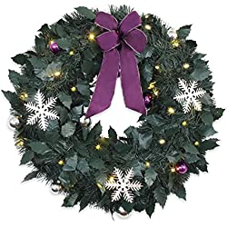 Brylanehome 18&Quot; Cordless Led Christmas Wreaths (Purple Silver,0)