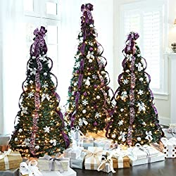 Brylanehome 6' Pre-Lit Pop-Up Christmas Tree (Purple Silver,0)