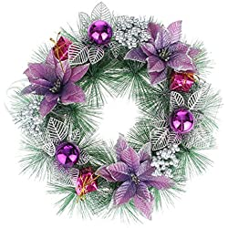 EOZY Christmas Holiday Pine Floral Wreath Garland Home Party (B Purple, Diameter 50cm)