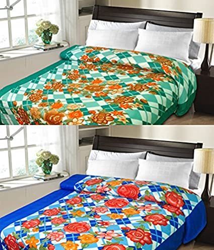Christy's Collection Super Soft Printed 2 Piece Cotton Blend AC Double Blanket - Multicolor