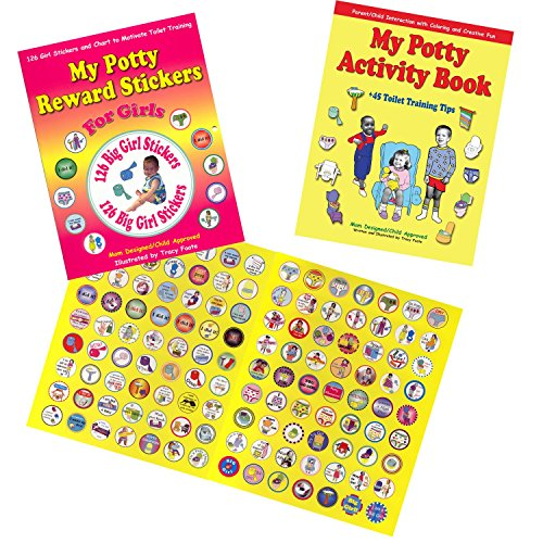 Girl Potty Party Supplies Kit Toilet Training Book, Stickers, Chart