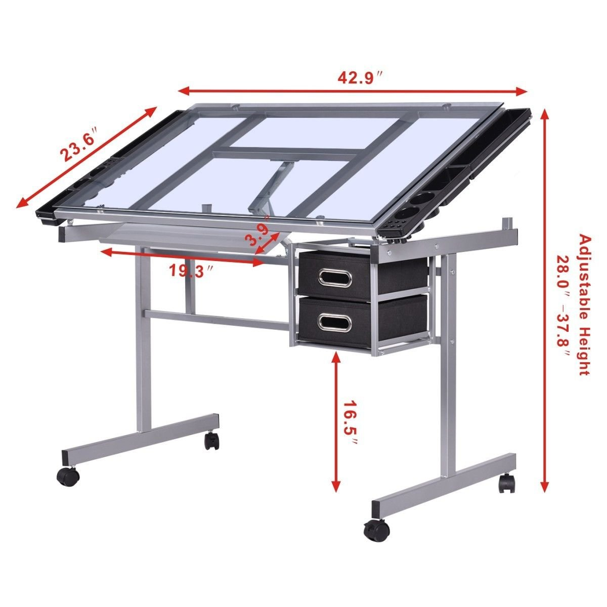Glastisch Tempered Tangkula Adjustable Drawing Desk Rolling Drafting Table
